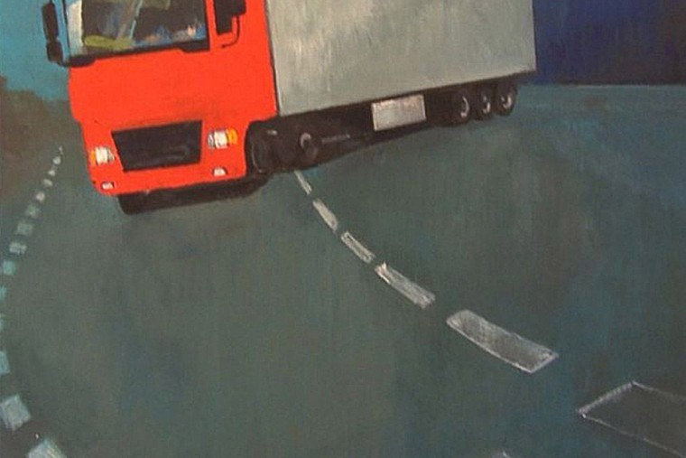 Go, Trucks, Go!,  Jadą wozy kolorowe; 90 x 90 cm, 2010
